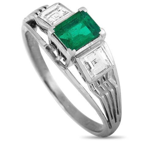 Platinum 0.49 ct Diamond and Emerald Ring Size 7 LB Exclusive - White