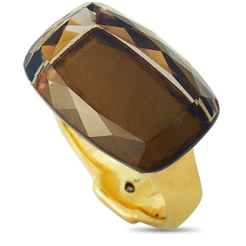 H. Stern Yellow Gold Diamond and Smoky Quartz Ring Size 9