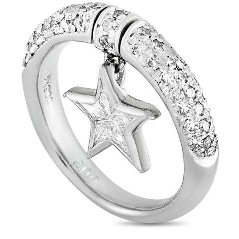 Platinum and 0.65 ct Diamond Star Ring Size 4.75 LB Exclusive - White
