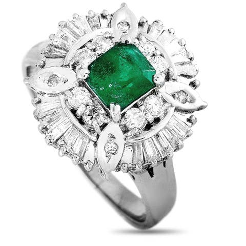 Platinum 0.75 ct Diamond and Emerald Ring Size 8 LB Exclusive - White
