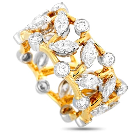 Tiffany & Co. Schlumberger Yellow Gold and Platinum 3.00 ct Round/Marquise Diamond Band Ring Size 7