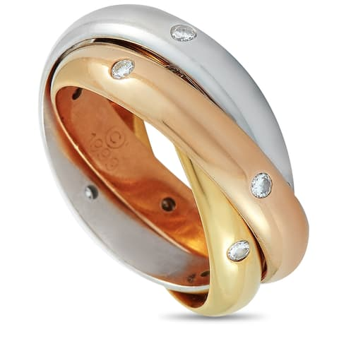 Cartier Trinity Yellow/White/Rose Gold and Diamond Ring Size 5