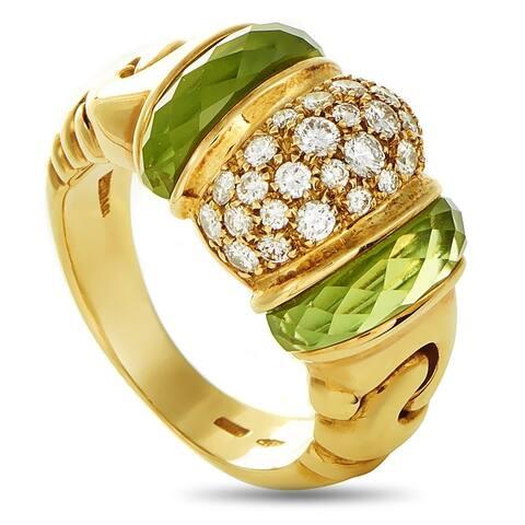 Bvlgari Ganci Yellow Gold Diamond Peridot Band Ring Size 6