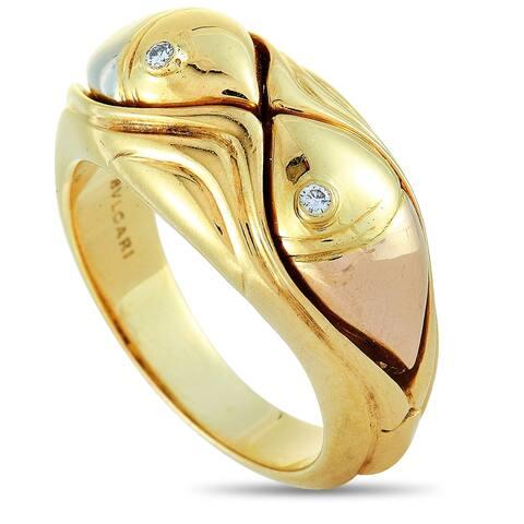 Bvlgari Yellow Gold and Diamond Fish Band Ring Size 6.75