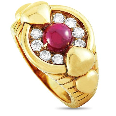 Mauboussin Vintage Yellow Gold 0.50 ct Diamond and Ruby Ring Size 6.5