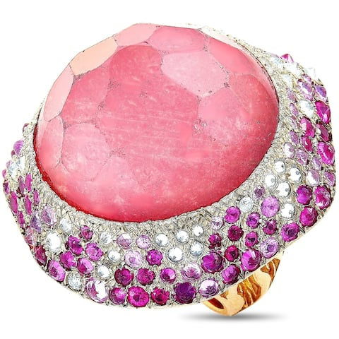 Vasari Rose Gold 2.00 ct Diamond, Ruby and Tourmaline Cocktail Ring Size 6