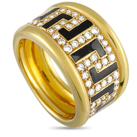 Versace Yellow Gold and Enamel 0.75 ct Diamond Ring Size 7