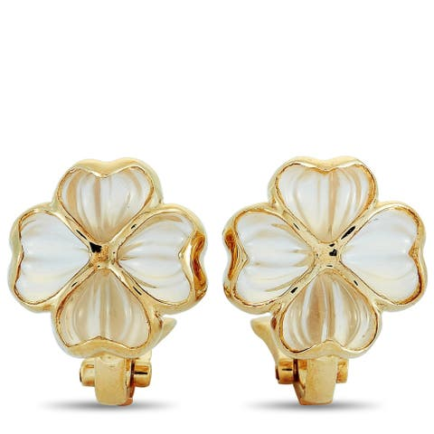 Boucheron Vintage Yellow Gold and Crystal Clip-On Earrings