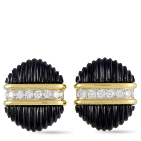 Tiffany & Co. Yellow Gold 1.60 ct Diamond and Onyx Earrings