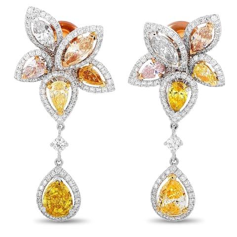 De Beers Yellow Gold and Platinum 4.61 ct Pink/Light Green/Yellow/Orange Diamond Flower Pear Drop Earrings