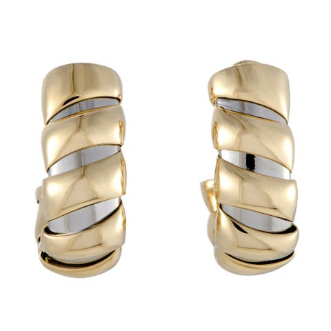 Bvlgari Tubogas Yellow and White Gold Large Huggie Clip-on Earrings