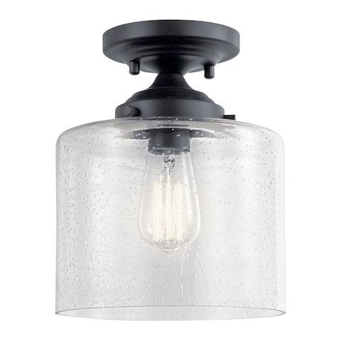 Kichler Lighting Winslow 1-Light Semi Flush Mount Ceiling Light Black