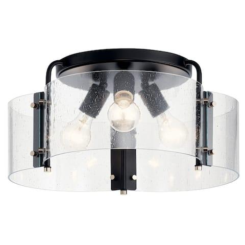 Kichler Lighting Thoreau 3-Light Semi Flush Mount Ceiling Light Black