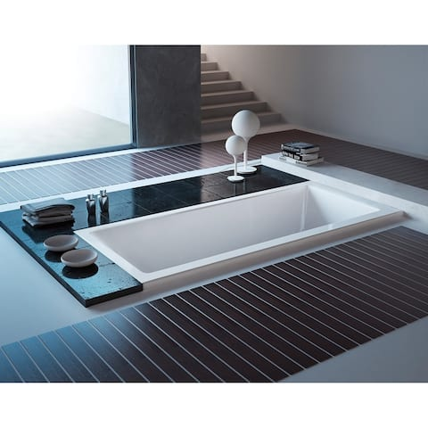 59-Inch Acrylic Rectangular Drop-In Tub with Center Drain