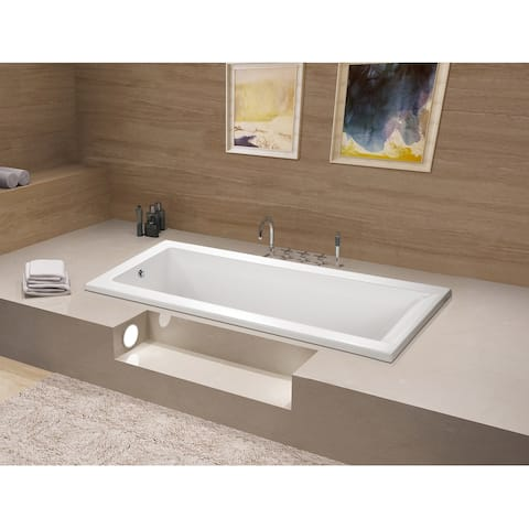 67-Inch Acrylic Rectangular Drop-In Tub with Reversible Drain Hole