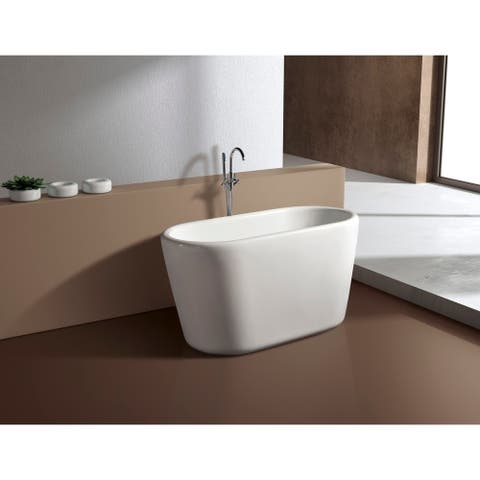 51-Inch Acrylic Freestanding Tub with Seat in White