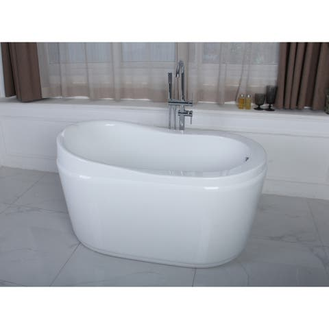 52-Inch Acrylic Freestanding Tub with Drain in White