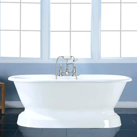 66-in Cast Iron Double Ended Pedestal Tub with 7-in Faucet Drillings