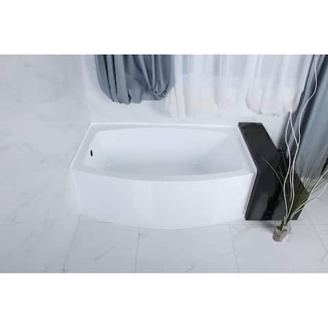 60-Inch Acrylic Curved Apron Alcove Tub
