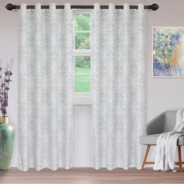 "Miranda Haus Hinia Jacquard Grommet Curtain Panel in Light Grey - 52"" x 96""- (Set of 2) (As Is Item). Opens flyout."