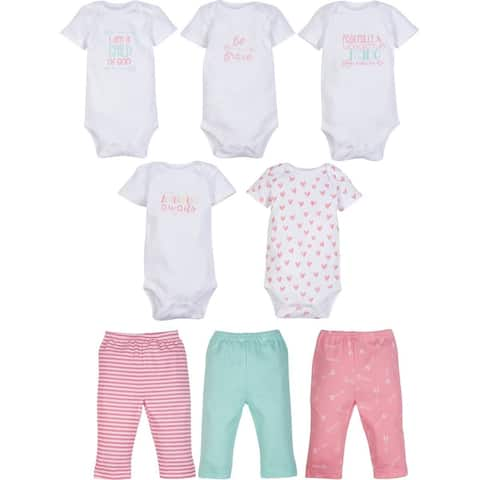 Girl 5-Pack SS Bodysuit/3-Pack Pant Outfit Eight-Piece 0-3 Month