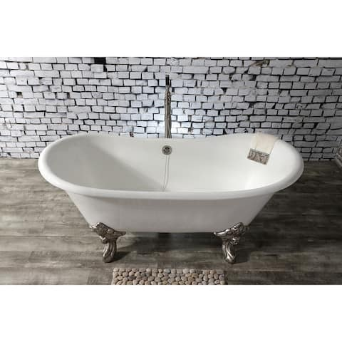 67-in Cast Iron Double Slipper Clawfoot Tub (No Faucet Drillings)