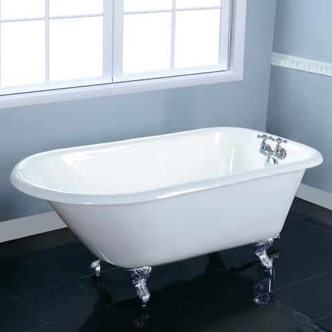 48-in Cast Iron Roll Top Clawfoot Tub with 3-3/8 Inch Wall Drillings