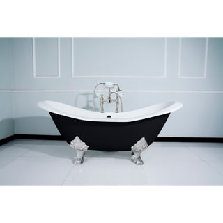 Link to Black 72-in Cast Iron Slipper Clawfoot Tub with Faucet Drillings Similar Items in Bathtubs