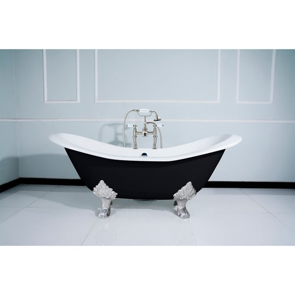 Black 72-in Cast Iron Slipper Clawfoot Tub with Faucet Drillings