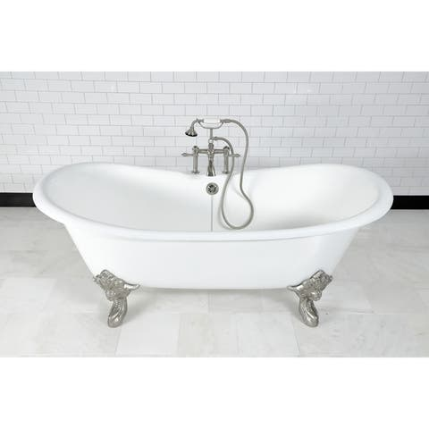 72-in Cast Iron Double Slipper Clawfoot Tub with Faucet Drillings