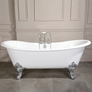 Link to 72-in Cast Iron Double Slipper Clawfoot Tub with Faucet Drillings Similar Items in Bathtubs
