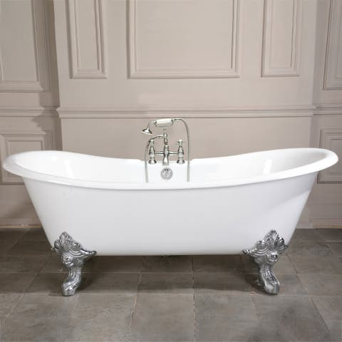 67-in Cast Iron Double Slipper Clawfoot Tub with Faucet Drillings