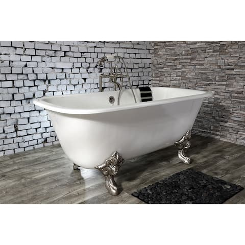 67-in Cast Iron Double Ended Clawfoot Tub with 7-in Faucet Drillings