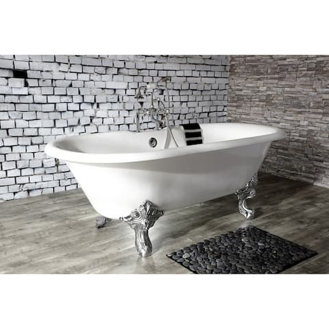 72-in Cast Iron Double Ended Clawfoot Tub with 7-in Faucet Drillings