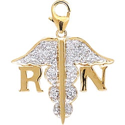 14k Yellow Gold 1/10ct TDW Diamond RN Charm (H-I-J, I2)