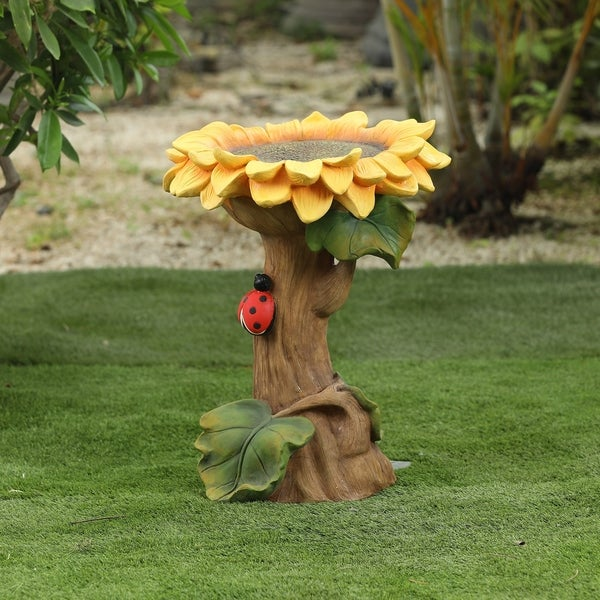 Polyresin Sunflower Bird Bath. Opens flyout.
