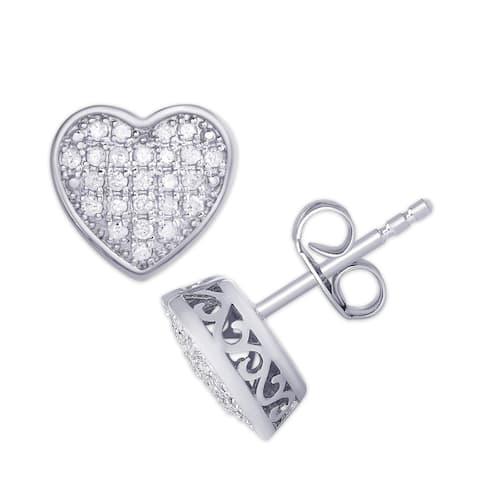 Sterling Silver 1/4ct. Tw. Diamond Pave Heart Stud Earrings