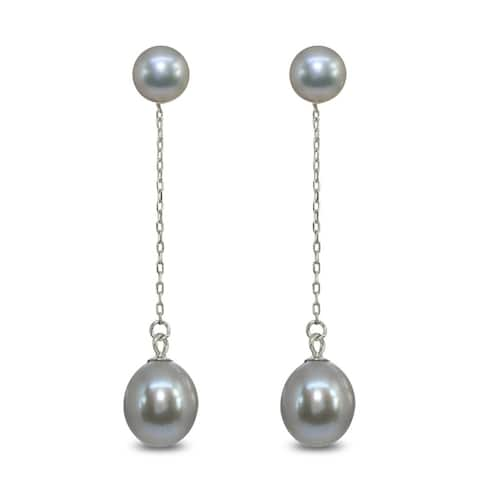 Mondevio Cultured Freshwater Pearl Sterling Silver Chain Drop Dangle Earrings, White, Gray or Peacock