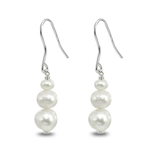 Mondevio Graduating Freshwater Cultured Pearl Sterling Silver Dangle Drop Earrings, White, Gray or Peacock