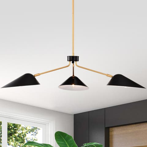 Stelle Gold+Black 3-Light Abstract & Metal Branched Chandelier