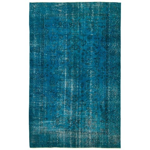 """Hand-knotted Color Transition Turquoise Wool Rug - 5'0"""" x 8'2"""""""
