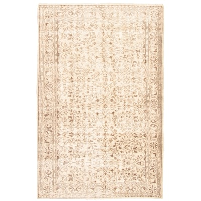 """Hand-knotted Antalya Vintage Ivory Wool Rug - 9'1"""" x 5'9"""""""