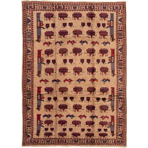"Hand-knotted Rare War Tan Wool Rug - 6'7"" x 9'5"""