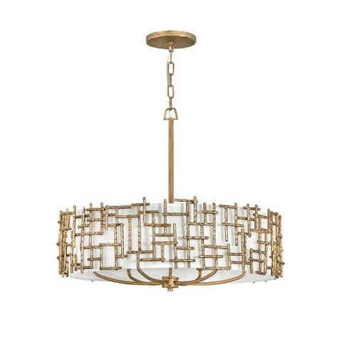 Fredrick Ramond FR33104BNG Six Light Chelier Farrah Burnished Gold - One Size