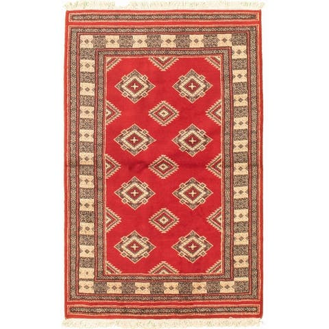 Hand-knotted Finest Peshawar Bokhara Red Wool Rug - 3'1 x 5'0