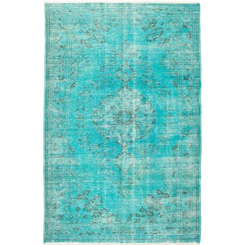 """Hand-knotted Color Transition Turquoise Wool Rug - 6'7"""" x 10'1"""""""