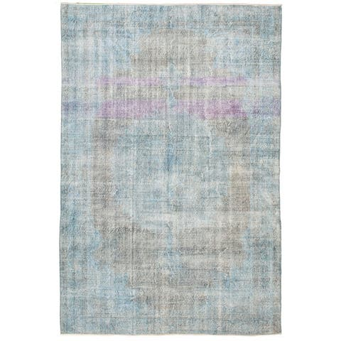 """Hand-knotted Color Transition Blue Wool Rug - 6'7"""" x 9'11"""""""