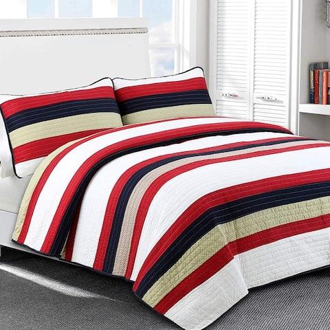 Cozy Line Black Red Striped Cotton Quilt Set