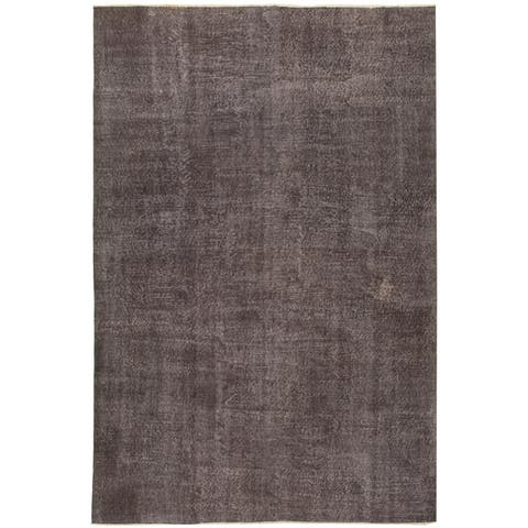 Hand-knotted Color Transition Grey Wool Rug - 6'8 x 9'10