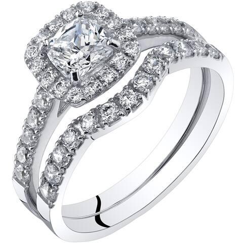 14K White Gold Cubic Zirconia Engagement Ring Wedding and Band Bridal Set